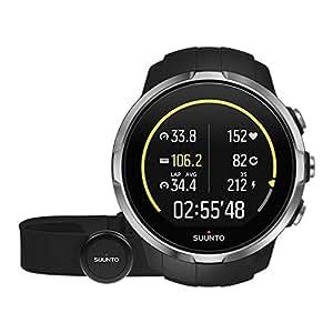 Suunto SS022648000 Spartan Sport Black HR Orologio GPS per Atletica e Multisport, Unisex, Autonomia Batteria 10h, Resistente all'acqua, Cardiofrequenzimetro + Cintura FC, Touch Screen a Colori, Nero