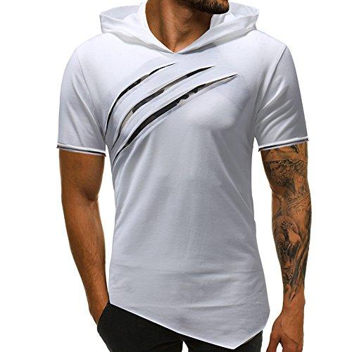 Aoogo Mode-Persönlichkeit Männer Reine Farbe Hoodie Sport Kurzarm Shirt Top Bluse