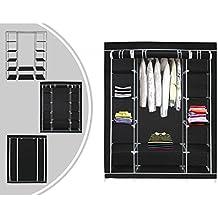 Armario ropero de tela de color negro ¨C Guardarropa de 3 puertas y cierre zip