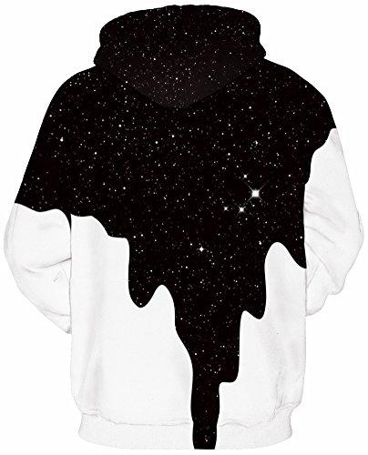 EmilyLe Herren digitaldruck Galaxy Bunt Sweatshirt Langarm Kapuzenjacke mit Tier Muster Frühling Jumper Fashion Pullover schwarzweiß Lack