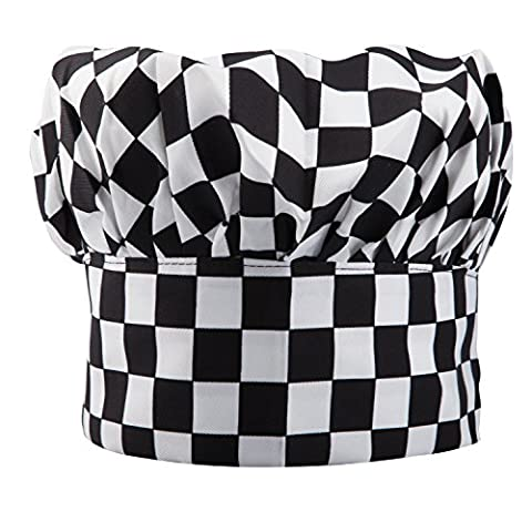 TRIXES Professional Kitchen Chef Hat Black & White Chequered - Igienici Professionale