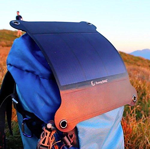 SunnyBAG Leaf+ Edition 2018 - Premium Outdoor Solar Ladegerät für Handy, Tablet, Laptop UVM. inkl. 6.000 mAh PowerBank - Das weltweit leichteste und stärkste Solarpanel - 5