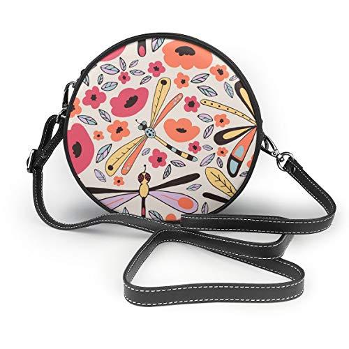 Wrution Libellen Nahtlose Muster personalisierbar Runder Reißverschluss Schultertasche Weiches Leder Kreise Geldbörse für Damen -