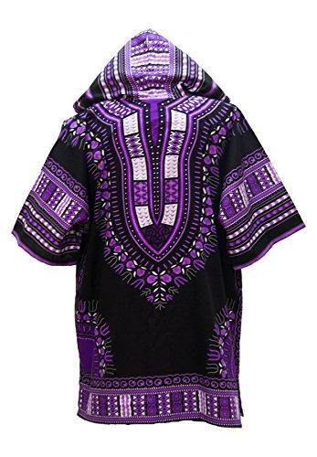 Lofbaz Unisex Dashiki Traditionelles Oberteil mit afrikanischem Druck Design #1 Schwarz und Violett