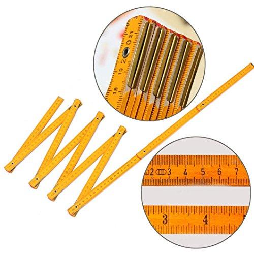 Messwerkzeug,KIMODO Neuer hölzerner Yard-Stock-faltender Herrscher hölzerner Tischler-metrisches Messwerkzeug 200cm(Gelb)