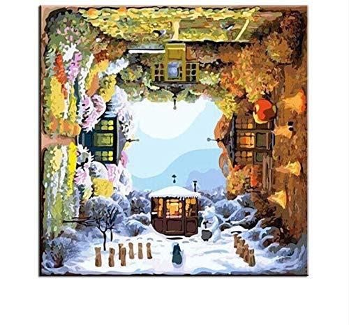 (DDBBhome ?Lgem?Lde Durch Zahlen Vier Jahreszeiten Digital Coloing Malerei Auf Leinwand Wandbilder Für Wohnzimmer DIY Cuadros Decoracion)
