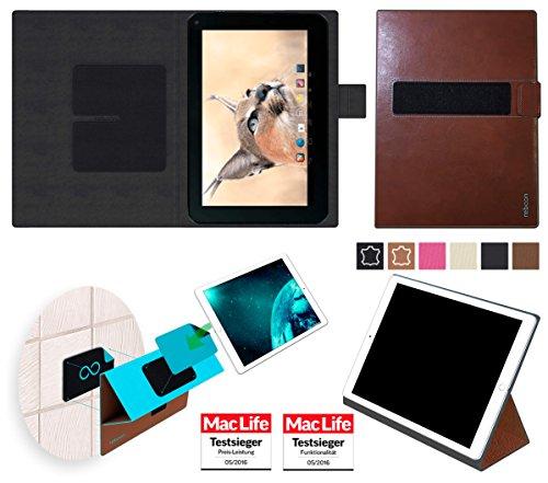 reboon Hülle für Blaupunkt Endeavour 1001 DVBT Tasche Cover Case Bumper | in Braun Leder | Testsieger