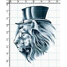 4Pcs [Cool Mr.Lion] Tatouages temporaire imperméable Tatouage bras/cheville