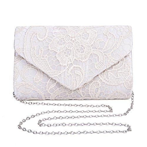 Lifewish Frauen eleganter Blumenspitze-Umschlag-Kupplungs-Abend-Abschlussball-Handtaschen-Geldbeutel(Aprikose) (Rosa Abend-handtasche)