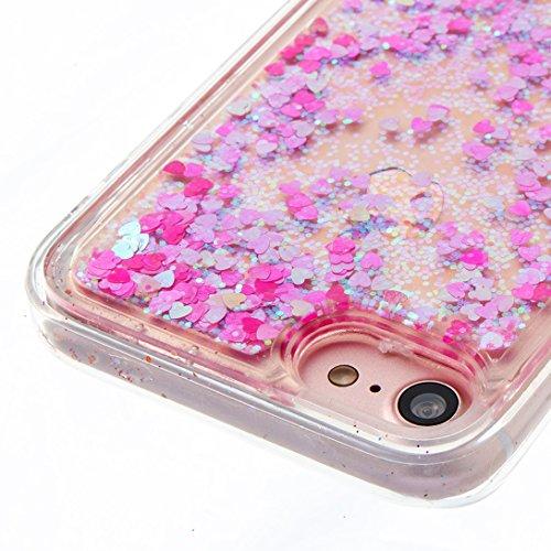 Pheant® Apple iPhone 7 (4.7 pouces) Coque Gel Transparent Brillante Étui de Protection en TPU Silicone avec Liquide Bling Gratuit Paillette Sable Mouvant Couleur-04