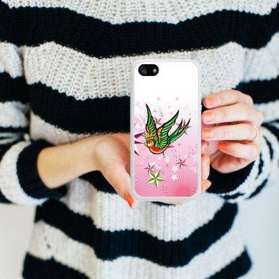 Apple iPhone 4 Housse Étui Silicone Coque Protection Simulation Oiseau Étoiles Housse en silicone blanc
