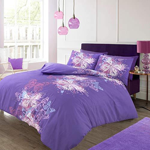 Lifestyle Produktion @ SCHMETTERLING PINK _ Schokolade _ lila Moderne Bettwäscheset, Bettbezug Bettwäsche mit Kissen Fällen, Butterfly-Purple, Einzelbett (Schokolade Und Bettwäsche Rosa)