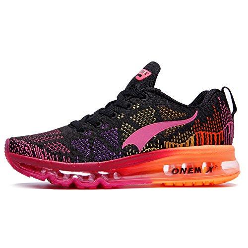 ONEMIX Air Scarpe da Ginnastica Corsa Basse Donna Uomo Sportive Basket Running Sneaker Estive Black Pink