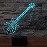 Veilleuse 7 Changement De Couleur Musique 3D Led Artistique Guitare Électrique Atmosphère Décor Veilleuse Cadeaux Luminaire Usb Lampe De Bureau-Interrupteur Tactile À Distance