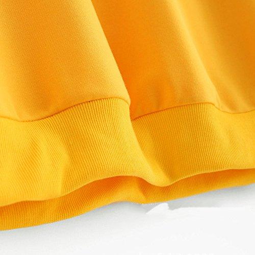 Vertvie Femme Sweat-Shirt Court Col Rond Brodé Fleurs Top Crop Blouse Pullover Casual Jaune