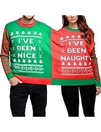 Sudadera combinada de Navidad, amante de la ropa para mujer para hombre del mono, camiseta de manga larga con estampado navideño