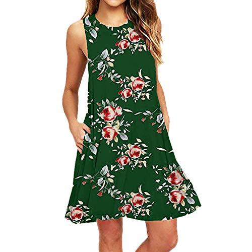 XuxMim Frauen-Sommer-beiläufiges Sleeveless gedrucktes Schwingminikleid-Sommerkleid mit Tasche(Grün,Small)