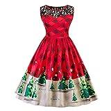 Frau Kleid Mit Spitze Damen Weihnachten Partykleider wadenlang Rüschenkleid Festlich Vintage Wickelkleid Tailliert Cocktailkleid Retro Etuikleid Elegante Rote Abendkleider Lang (Christmas Rot, 2XL)