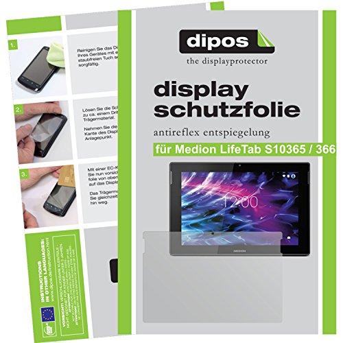 dipos I 2X Schutzfolie matt passend für Medion LifeTab S10365 / S10366 Folie Displayschutzfolie