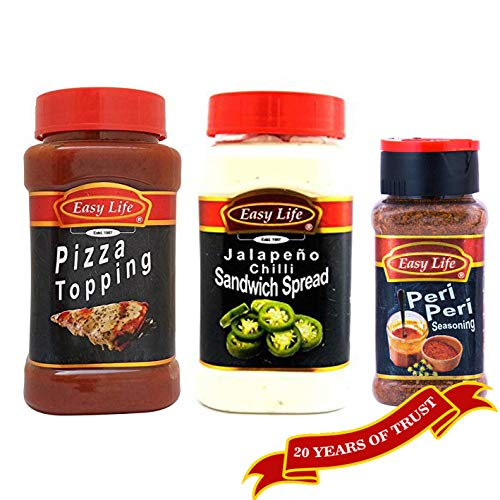 Easy Life Combo Pack of Pizza Topping 350g, Jalapeno Chilli Sandwich Spread 315g with Peri Peri Seasoning 75g