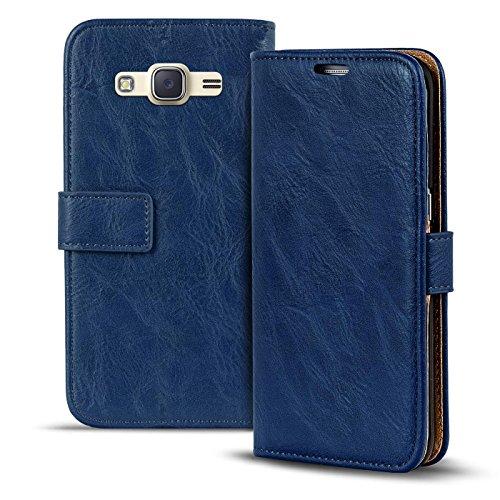 Conie RW30612 Retro Wallet Kompatibel mit Samsung Galaxy J3 2016, Klapphülle Tasche Vintage Leder Design für Galaxy J3 2016 Etui mit Kartenfächer Vintage Blau