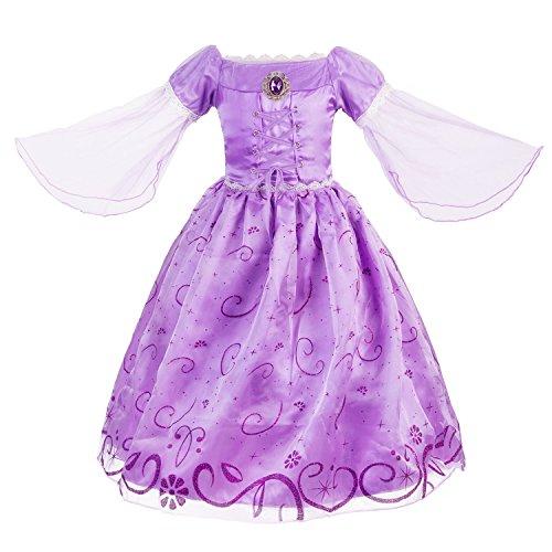 KABETY Prinzessin Rapunzel Kleid Kostüm Party Kleid mit Zubehör (2-3 Jahren, Lila)
