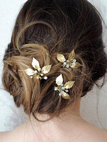 Kercisbeauty handgemachter Haarschmuck/ Haarnadeln für Hochzeit, im Vintage-Stil, mit goldenen und silbernen Blättern, Perlen und Kristallen, 3er-Set Goldenen Blättern
