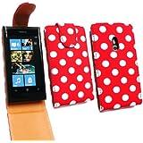 Emartbuy ® Nokia Lumia 800 Premium PU-Leder Flip Case / Cover / Tasche Polka Dots rot / weiß und LCD Displayschutz