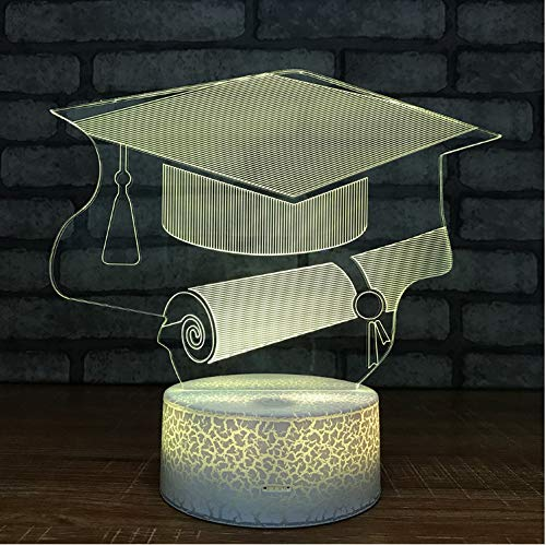 Graduation Gifts Großhandel Bachelor Hut Nachtlichter Usb Led 3D Lampe Kinderzimmer Licht Weiß Basis Schöne 7 Farbwechsel Kinder Lampe