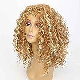 XY-QXZB Parrucche Europa e gli Stati Uniti le donne nel gradiente marrone lungo africano piccolo rotolo parrucca