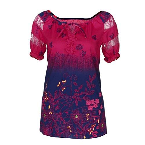 OverDose Damen Blumen Spitze Tops Frauen Kurzarm V-Ausschnitt Spitze Gedruckte Lose T-Shirt Bluse Oberteile Tees Shirt(Hot Pink,2XL)