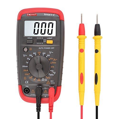 DMiotech Digitalmultimeter Multi Tester Kapazität Test-AC / DC-Spannung Strom Widerstand Continuity Diode Transistor hFE Meter LCD-Hintergrundbeleuchtung Display-Smart-C- Transistor-test