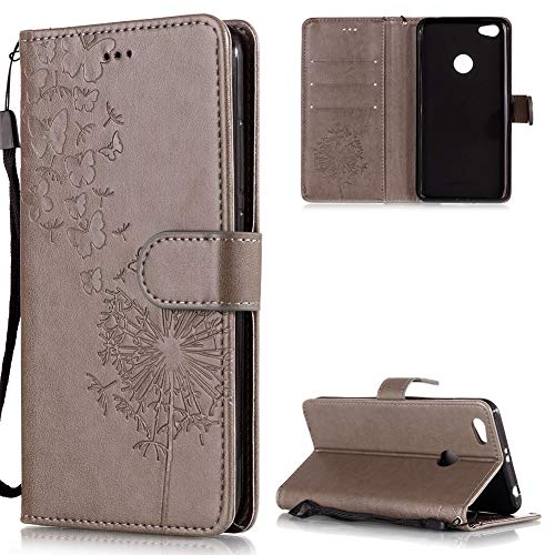 Preisvergleich Produktbild FNBK Xiaomi Redmi Note 5A Hülle Leder Grau Löwenzahn Blumen Handyhülle Holster Leder Flip Wallet Cover Tasche Stand Case Card Slot Magnetverschluß Kratzfestes Schutzhülle