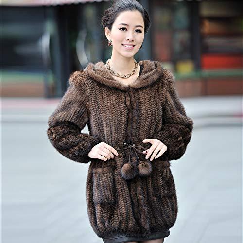 ZYJANO Warmer Mantel,Winter Frauen echte natürliche gestrickt mit Hoody Lady WAM Oberbekleidung weibliches Kleidungsstück 1