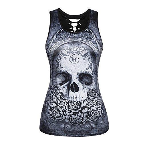 Camisetas sin Mangas Mujer,Lenfesh Camiseta gótico Mujer Negro Punky Chaleco Blusa Camisetas sin Mangas impresión del cráneo Camis Rock Ropa sin Mangas O Cuello de Moda Verano