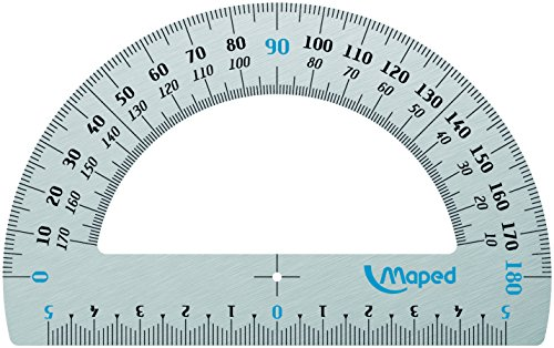 Maped 129200 Halbkreis-Winkelmesser 180 Grad aus Aluminium, 120 mm