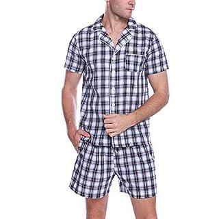 Aibrou Herren Zweiteiliger Schlafanzug Kurz Kariert Nachtwäsche Kurzarm Pyjama für Sommer Schwarz+Weiß M