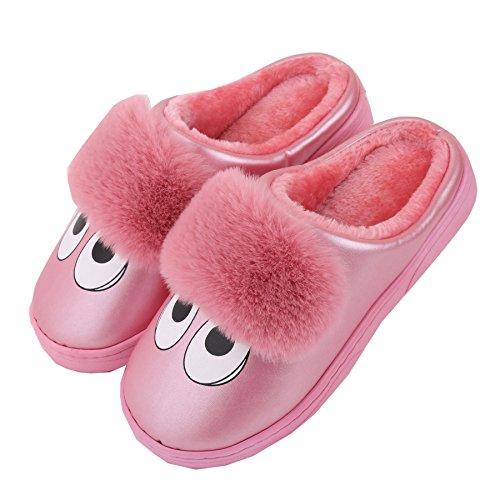 Karikatur PU-Leder Familie Hausschuhe-Unisex Winter warm Pl¨¹sch Stiefel Schuhe Pink
