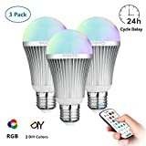 Coidak CO816 12W E27 RGB+W LED Colour Light Bulb / Colour Changing LED Bulb with Timer & Sleep Function and Pure White Light, 2.4G RF Wireless Control (Not IR), Dimmable Lamp with Remote, 3-PACK