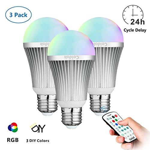 Coidak CO816 E27 6W RGB LED Birne mit Farbwechsel und Timer, Starkes Signal, Barriere Umgehend, Große Reichweite der 2,4G Fernbedienung (NICHT IR / Infrarot), Dimmbar, Leuchtmittel mit reinem weißem + farbigem Licht, A60, 3er Set (Weiß-infrarot-bereich)