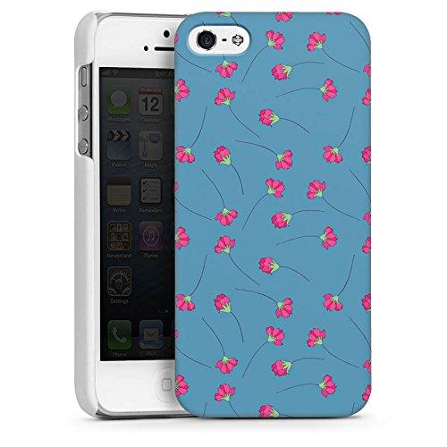 Apple iPhone 4 Housse Étui Silicone Coque Protection Fleurs Fleurs Bleu CasDur blanc