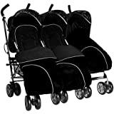 Triple buggies with 3 footmuffs stroller buggy pushchair child Newborn from birth all seats 5 pos & independently operated UNIQUE reflective strip on visa for extra safety 3 toddlers or 3 Newborn babies Midnight Black