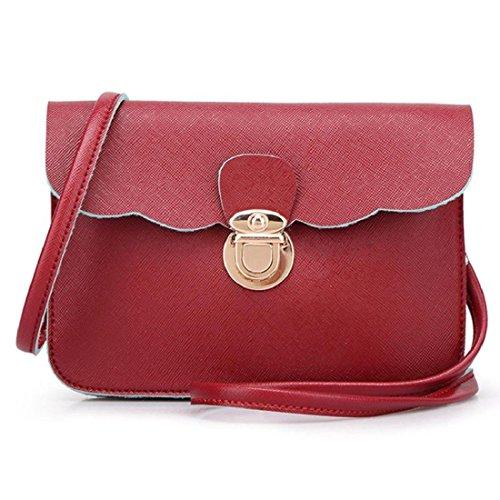 Hippolo Le donne di spalla del cuoio della borsa del Hobo Messenger Rosa 6