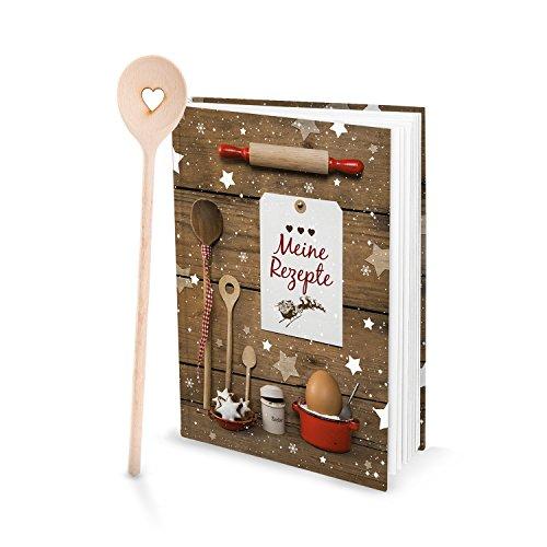 Geschenk-SET Rezeptbuch Selberschreiben MEINE REZEPTE + Kochlöffel HERZ Weihnachtsplätzchen rot weiß Weihnachtsgebäck Plätzchen Rezepte Weihnachten Backen Backbuch Geschenk Weihnachten - Meinen Buchen Geburtstag