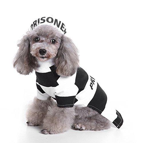 Gefangener Kostüm Hut - ZDJR Gefangener Hund Kostüm, Gefängnis Hündchen Hund Halloween Kostüm Party, Haustier Hund Kostüm Kleidung Cosplay mit Hut,Schwarz,XL