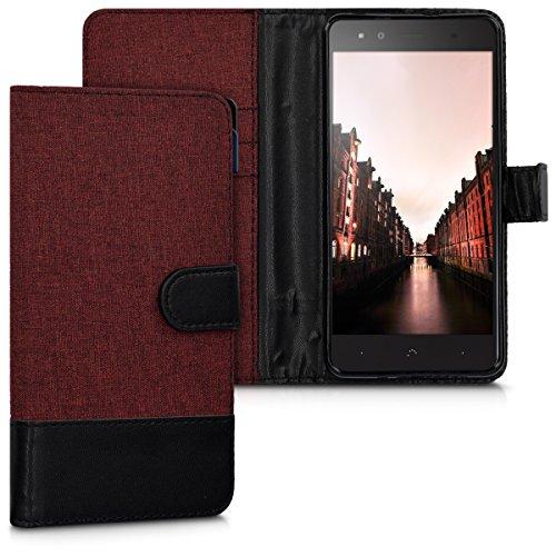 kwmobile bq Aquaris X5 Plus Hülle - Kunstleder Wallet Case für bq Aquaris X5 Plus mit Kartenfächern und Stand