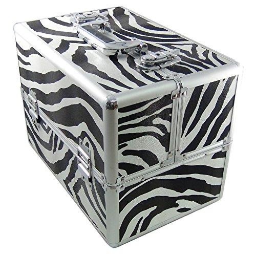 DynaSun ALU Design Beautycase Schmuckfach Schminkkoffer Kosmetikkoffer, 39 cm, Zebra