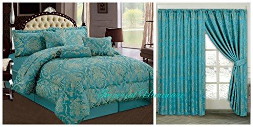 Jacquard, luxuriöses, siebenteiliges Bettdecken-Set, Tagesdecke & passende Vorhänge (228,6x 228,6cm), Jaquard-Gewebe, blaugrün, King Size (Queen-size-bett-set Purpur)