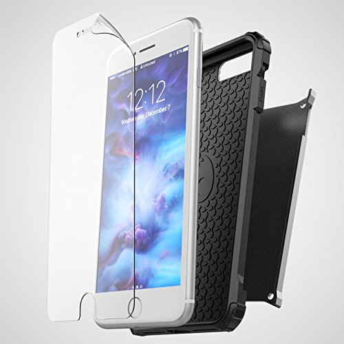 "iPhone 7 Plus (5.5"") Belt Clip Case, Premium Tough Protection w/ Holster - Scorpio R7 by Encased (Smooth Black) Metallic Gray"