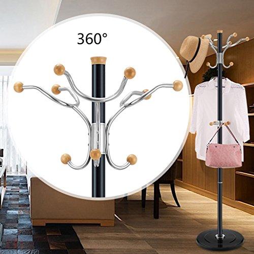 SKC Lighting-Porte-manteau Base en caoutchouc de colonne en alliage d'aluminium de support de crochet en acier inoxydable Base en caoutchouc de cadre de chambre simple moderne (Couleur : NOIR)